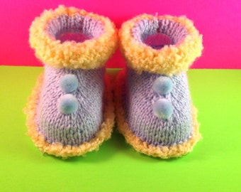 Booties with pom poms knit baby socks Baby Socks toddler socks boy socks girl socks knit baby socks baby shoes  Infant/Baby Handmade Infant