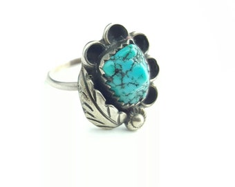 Vintage Native American Sterling Silver Petite Turquoise Ring- Size 4.5