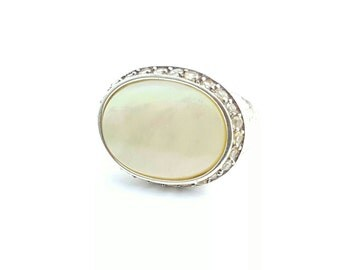 Vintage Large Sterling Silver Mother of Pearl and Clear Gemstone Accent Ring- Size 8