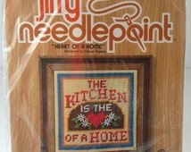 """Vintage Jiffy Needlepoint """"Heart of a Home"""" #5561 The Kitchen is the Heart of a Home by Sunset Designs 100% Wool Yarn Cute Kitchen Decor"""