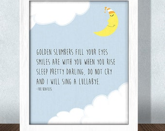 Golden Slumbers Beatles Nursery Print