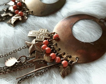 Gorgeous vintage dangling copper earrings with small charms