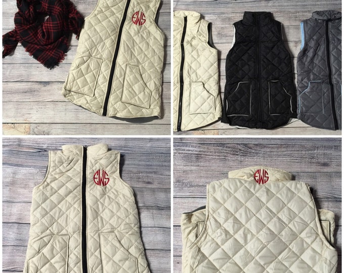 Monogrammed Quilted Legging Length Vest