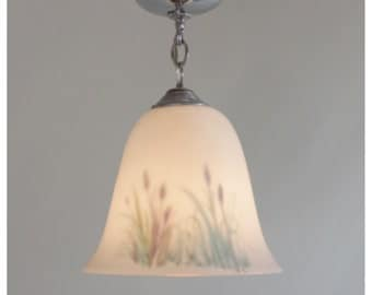 A2931 1930's Chrome Ceiling Pendant with Milk Glass Oversized Shade Hand Painted With Cattails
