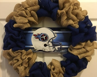 Tennessee Titans 18 inch burlap wreath, titans wreath, tennessee titans wreath, titans football wreath, **FREE SHIPPING!!**