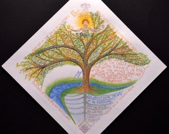 "Psalm One ~ Watercolor and Color Pencils ~ 10""x10"" Unframed Giclee Print"