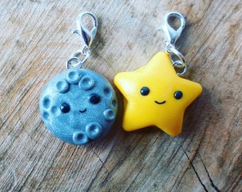 Planner charms, Star and moon charm, polymer clay charms, kawaii charm, stitch marker, TN planner charm, bag charm, galaxy charm, star charm