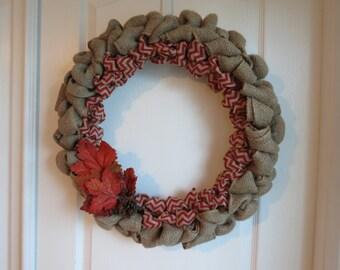 Fall Leaves Burlap Wreath