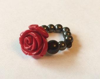 Art Deco rose ring, carved red rose, vintage look