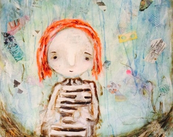 """Girl in a boat mixed media paiting with handmade paper, acyrlics, handmade paper and resing """"Drifting"""""""