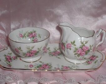 Aynsley creamer and sugar bowl set with tray