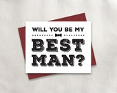 Printable Will you be my Best Man | Bold Type | Best Man, Groomsman, Usher, Ring Bearer, Jr. Groomsman Bundle | No. PW3007