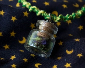 Small Protection Vial Necklace Charm - Violet, Nettle, Rosemary Herbs - Full Moon Charged - Wicca/Witch/Pagan Magic Herb Charm