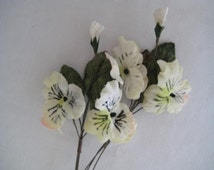 Millinery flowers 4 velvet silk pansies in white for Altered Art, Corsages, Jewellery or Hair accessories