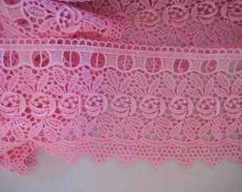 Long venise lace pink rose design for journals, altered art, favour bags