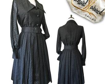 "Vintage Black 1950s Cotton Swiss Dot Belted Shirtwaist Dress — 25""W"