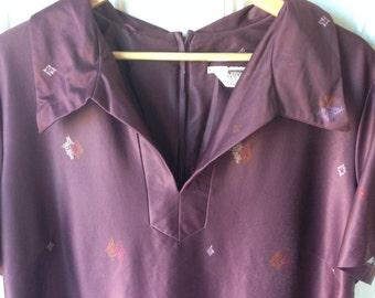 Plus size burgundy floral vintage dress with jacket