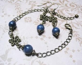 Sapphire Jewelry Set Blue Sapphire Jewelry Vintage Jewelry Sapphire Bracelet Gemstone Jewelry Romantic Jewelry Sapphire Earrings