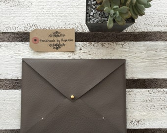 Medium Grey Faux Leather Envelope Bag