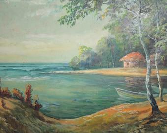 Antique oil painting landscape forest lake