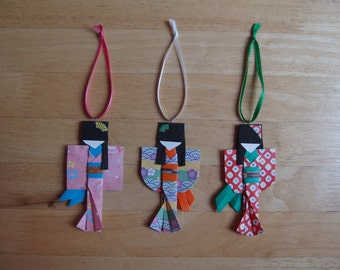 Set of three Japanese Paper Doll Ornaments