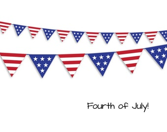 July 4th Garland - July 4th Banner - Print as many as you like - Instant PDF Download