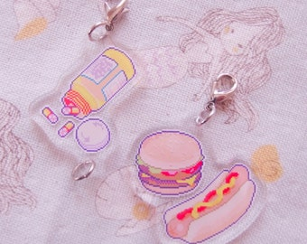 diner shift pixel art charms by bitmapdreams