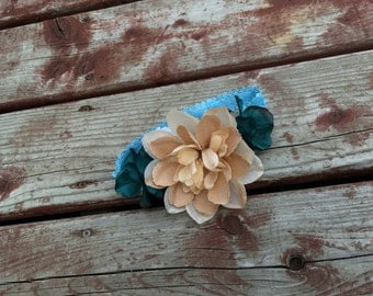 Burlap and Turquoise Flower Headband  - size 6months and up