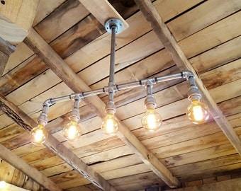 Rustic Industrial Lighting Chandelier GALVANIZED Pipe Light- Modern Industrial Chandelier Light- Rustic Lighting- FREE SHIPPING