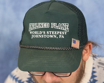 Vintage Novelty Johnstown Pennsylvania Hat // World's Steepest Inclined Plane // Souvenir Trucker Hat // Green // Funny