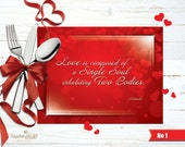 Valentine's placemats with love quotes, printable digital files