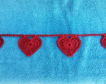 Heart garland, wedding garland, Valentine garland, crochet heart garland, crochet garland