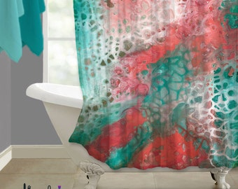 Teal Coral Gray Abstract Shower Curtain Art Aqua Seafoam Green Bathroom Decor