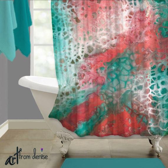Coral Bathroom Ideas: Teal Coral Gray Abstract Shower Curtain Art Aqua Seafoam