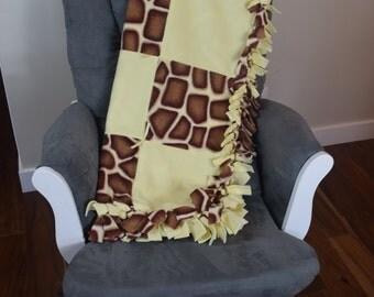 giraffe print fleece tied sewn baby blanket, giraffe print blanket, knotted fleece blanket, throw