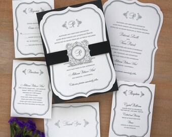 Catherine Die Cut Wedding Invitation -Raised Thermography Wedding Invite - Elegant Wedding Invitation Suite - AV4297