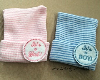 It's a boy and it's a girl newborn hospital hats, infant bonnet, Striped beanie, baby girl or baby boy, twins, free gift wrap, gender reveal