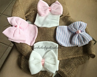 Limited Time Price! Hospital New born  Beanie white w/ Bow, free gift wrap, your choice, craft, shower gift,  Newborn Girl, Hospital Hat