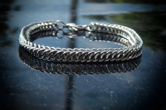 Thin Half Persian 4 in 1 Stainless Steel Chainmaille Bracelet - Gothic Chain Maille Bracelet - Viking Chainmail Armor Bracelet - Mens Cuff