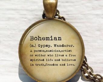 Bohemian Definition Boho Necklace Photo Art Glass Pendant Jewelry Gift Bohemian Jewelry