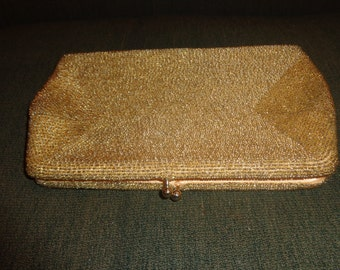 Vintage 50's-60's Gold color Clutch Beaded Evening Bag