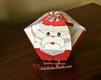 Santa Claus Cupcake Box - Printable Cupcake Paper Box, Gift Box, Digital File, INSTANT DOWNLOAD
