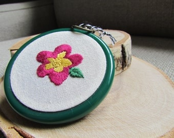 Hand stitched flower hoop