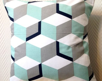 cushion illusion cube pastel and gray 40 x 40 cotton