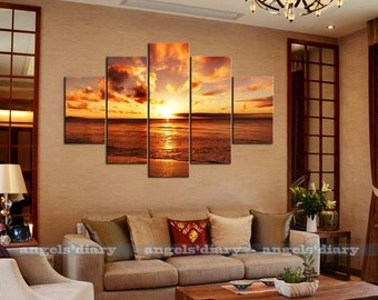 Sunset Unframed HD Canvas Print Wall Large Seaside 5pc/set