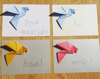 4 greeting card (+ envelopes) Dove origami with messages congratulations, thank you, happy birthday and love
