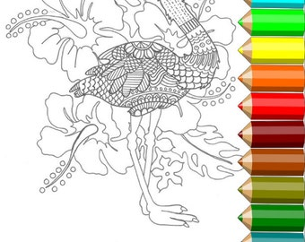 Adult Coloring Page - Colouring - Coloring for Grown Ups - Flamingo- Hand Drawn - Printable Digital Download
