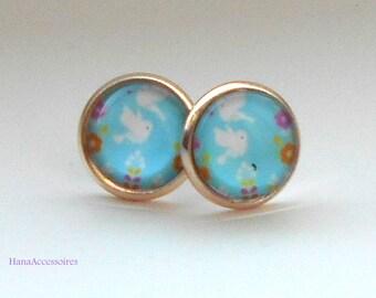 Earrings rose gold * sky blue birds * earrings
