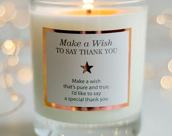 Thank You Gift , Appreciation Gift , Friendship Gift , Thankyou , Scented Candles , Grateful Gift , Make A Wish To Say Thank You , Candle