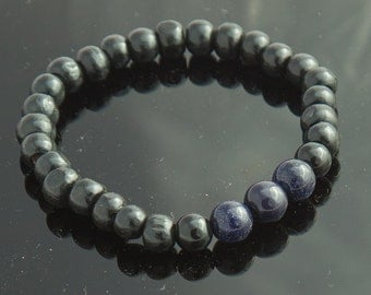 His Bracelet, Blue Goldstone Onix and Black Wood Mens Bracelet, Male Bracelet, Bracelet for Men, Mens